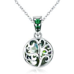 يترك [تر وف ليف] خضراء بلّوريّة شجرة مدلّاة عقد لأنّ نساء 100% 925 [سترلينغ سلفر] عقد مجوهرات