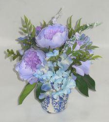 Фиолетовый искусственные цветы роз завод в керамическом сеялку для украшения для установки внутри помещений