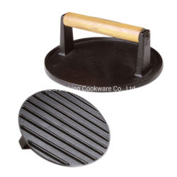 前乾燥した円形の鋳鉄の木炭グリルのハンバーガーの出版物