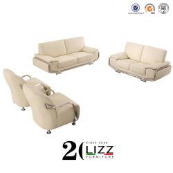 Cor creme móveis domésticos sofá de couro com parte superior de couro de Grãos