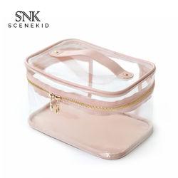 Прозрачный PU желе из натуральной кожи и туалетные принадлежности пакет с ручкой, логотип большого объема пользовательских розового цвета очистить мешок из ПВХ для макияжа