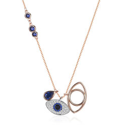 2019 Turkse Blauwe Zircon 925 de Echte Zilveren Halsband van het Oog van de Duivel van de Douane