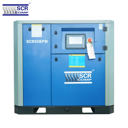 (SCR50EPM 시리즈) 일본 기술 40% 에너지 절약 고효율 에어엔드 독특한 디자인의 최신 터치스크린 PLC 스크류 공기 압축기