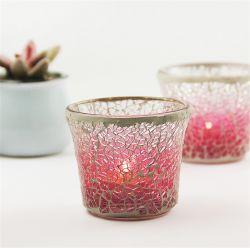 European Pink Gradent Mosaic Glass Candlestick Romantico Candlelight profumo fai da te Portacampione vuoto per tazze di cera