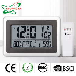 자동 야간 조명, 온도 및 습도를 갖춘 원자성 디지털 벽 시계