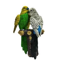 레진 가든 커플이 브랜치 라이프 사이즈 동상 벽에 앵무새 매달린 새 조각