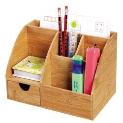 Multifunción de bambú organizador de escritorio Stationery Office con compartimento de accesorios de escritorio