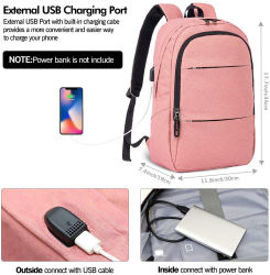 Rugzak voor laptops met USB-oplaadpoort voor dames & men School College Students Rugzak past op 15.6 inch Laptop