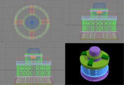 Hydromodell der turbine-Generator/3D