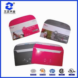 Cmyk brillante diseño personalizado de la tarjeta de la publicidad de productos de sobres de imprenta