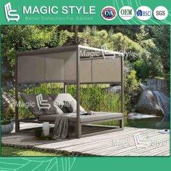 Китайский открытый алюминиевый кровать с текстильным подушки сиденья для загара в саду отеля Double-Bed с занавесками современной кушеткой патио мебель