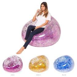 China Barato Novo Estilo transparente cintilante mobiliário inflável PVC preguiçosa Laybag Ar Praia cadeira espreguiçadeira Seat Sofá-cama para venda