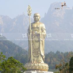 中国塗られるを用いる巨大な青銅色のKshitigarbha仏の彫像および杖の彫刻