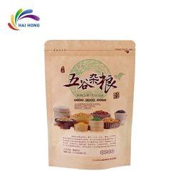 Il sacchetto biodegradabile della carta kraft Si leva in piedi in su con il sacchetto di plastica a chiusura lampo per l'imballaggio per alimenti