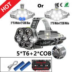 Neuester Scheinwerfer USB-nachladbare Batterien Headlamp+2X18650 der Art-5xcree T6+2xcob LED