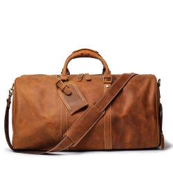 도매가 포도 수확 브라운 진짜 가죽 Tavel 부대 단화 공간을%s 가진 실제적인 가죽 더플 가방