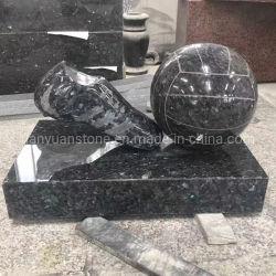 Piedra de granito Perla azul Memorial de fútbol para jardín lápida