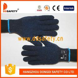 Étoffes de bonneterie de coton bleu marine Points Constrution Gants PVC