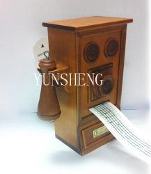Romántico Regalo de Cumpleaños de arranque de teléfono de la mano de madera clásica caja de música con grifo (LP-41)