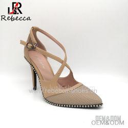 OEM-Леди Сандалии из натуральной кожи ручной работы с заклепку Stilettos обувь