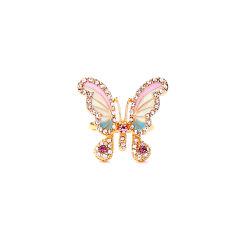حلقة حاتم مصنوع من ماسات الماسات الماسية الفراشة الجميلة لحماية البيئة