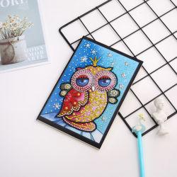 Großhandels-DIY Karikatur-grosse Augen-Eulen-Diamant-Notizbuch-Installationssatz-Stickerei-Kunst-spezielles geformtes Diamant-Notizbuch