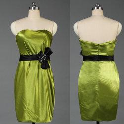 Мода Strapless зеленый Satin короткое замыкание Homecoming платья с черными Sashes E078