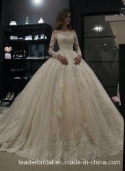 Bola de encaje de manga larga de hombro vestido de novia vestidos de novia 2020 L41