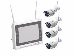 أطقم نظام أمان P2P 960p للمراقبة الخارجية 4CH WiFi NVR كاميرا لاسلكية IR IP مزودة بشاشة LCD مقاس 11 بوصة مزودة بمحرك أقراص ثابتة سعة 1 تيرابايت