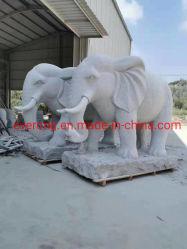 Embarcação de pedra de granito e mármore branco Escultura Animal Elefante para Home&Garden Decoration