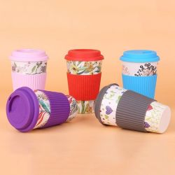 قهوة قمزة [إك] هبة ودّيّة قابل للاستعمال تكرارا خيزرانيّ لين إبريق فنجان مع سليكوون أغطية [400مل]
