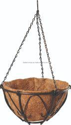 Form-Metallhängender Korb für Blumen-Eisen-Draht-Pflanzer mit Coco-Zwischenlage und Kette (Bh090019)