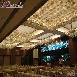 Pendente de vidro de flores de moda iluminação com o lobby de hotel