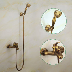 Flg Antique douche monté sur un mur avec bain à remous Mixer