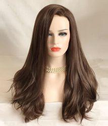 """28"""" кружевной передней Wig высокое качество синтетические волокна Kanekalon шоколадного цвета ослабление Curl CIF цена для Европы и Северной Америки"""
