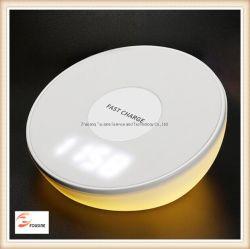 Lâmpada de relógio de Qi Carregador sem fios multifuncional
