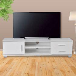 メラミン黒煙板マットホワイト 1 ドア TV テーブル(引き出し × 2