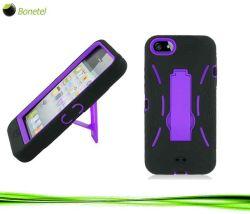 2 в 1 гибридный жесткий корпус с мобильного телефона Встроенная подставка для iPhone 5, черный/фиолетовый