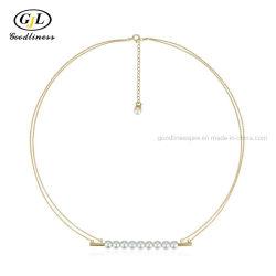 Neues Design Einfache Geometrie Shell Perle Halskette Silber Schmuck