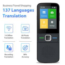 T10 لغة الصوت الذكية المترجم 138 اللغات الترجمة المتبادلة لـ ألمانيا الفرنسية الإسبانية البرتغالية الترجمة دون اتصال