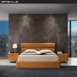 Conjunto de muebles de hogar moderno dormitorio cama cama de cuero tipo GC1717