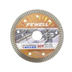 Hot Press 4.5inch 115*10*20mm 1.2 épaisseur Super Ultra Thin Diamond Lame de scie X disque Turbo pour la découpe de la porcelaine de carreaux en céramique