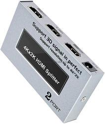 2포트 HDMI 스플리터 박스 4K CEC 3D(AC 포함 TV 모니터 UHD용 전원 어댑터 1-in-2 출력 비디오 배포