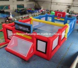 كرة القدم القابلة للانتفاخ في الملعب الرياضي 12×6 م باللون الأزرق والأحمر المحكمة للبيع