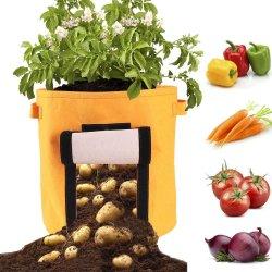 La Patata bolsas de tela negra crecen flores de la plantación de marihuana para jardín