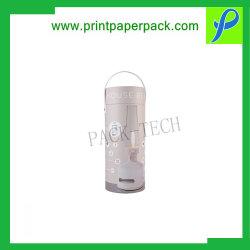 注文のなされた箱は贅沢な装飾のためのロゴによって印刷された円形の花のギフト箱の瓶の包装箱を注文する