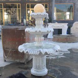Для использования вне помещений натурального мрамора Фэн-Шуй фонтан стороны резного сад мраморным фонтаном шаровой шарнир