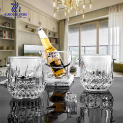 31oz(약 311g), 투명 유리 아이스 버킷, 맥주, 와인 한 병 메탈 핸들이 있는 유리 용기 위스키