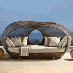 Раунда плетеной плетеной диван бар открытый солярий с шезлонгами для загара навеса на пляже