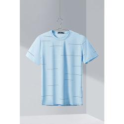 Hla Rround 목 마이크로 짜임새 Short-Sleeved t-셔츠 2020 여름 신제품 가득 차있는 패턴 간결 T 남성